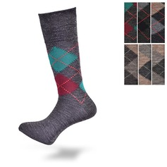 Lambswool Blend Argyle Loose Top Socks