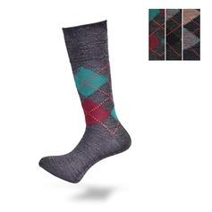 Lambswool Blend Argyle Loose Top Socks